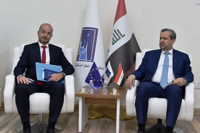 To discuss observing the upcoming October's elections; The Chairman of the Board of Commissioners welcomes the delegation of the European Union Delegation